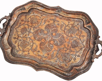 Antique orient Islamic Hammer Engraved copper table tea Tray Afghanistan No-C
