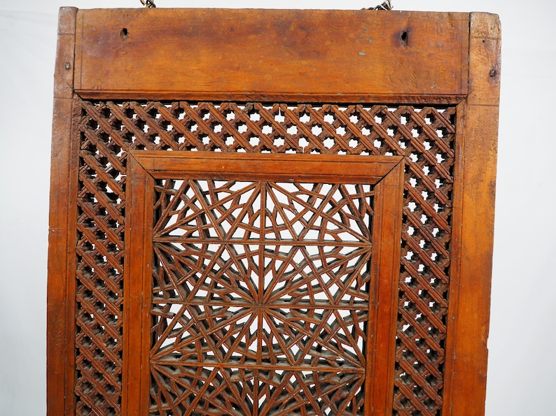 Antique islamic vintage carved wooden  wall decoration window mashrabiya Screen Afghanistan Pakistan No:20AFG