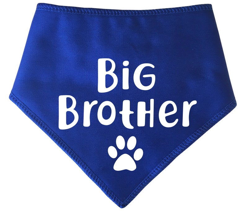 Gender Reveal Dog or Cat Bandana Four Sizes Spoilt Rotten Pets /'Big Brother/' With Paw -4 Sizes 6 Colours- Baby Shower Scarf Neckerchief