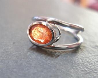 Sunstone Ring, Faceted Oval Sunstone, 925 Sterling Silver, Unique Handmade Ring, Flashy Orange Gemstone