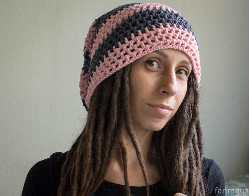 e4bff16b2 dread cap pink light gray/ dread hat/ dreadlock caps/ woolhat/ dreads/  dreadlocks