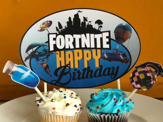 Fortnite Birthday Party Cake Topperfortnite Printable Etsy