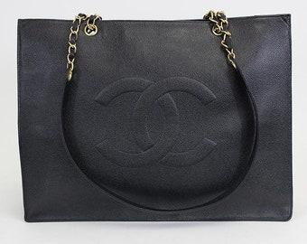 13b9a9835768 Vintage Chanel Caviar Shopper Tote Bag