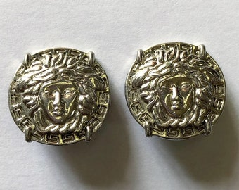 8300673f0d7 Vintage Gianni Versace Silver Tone Clip-On Earrings