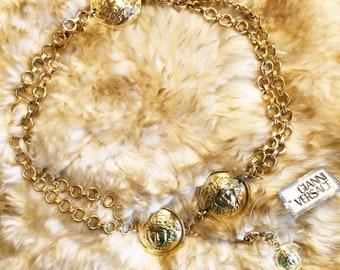 51c0ed96192 Vintage Gianni Versace Gold Medusa Chain Belt