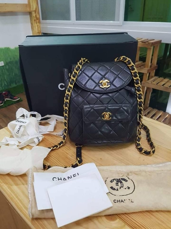 Black Chanel Lambskin Duma Backpack