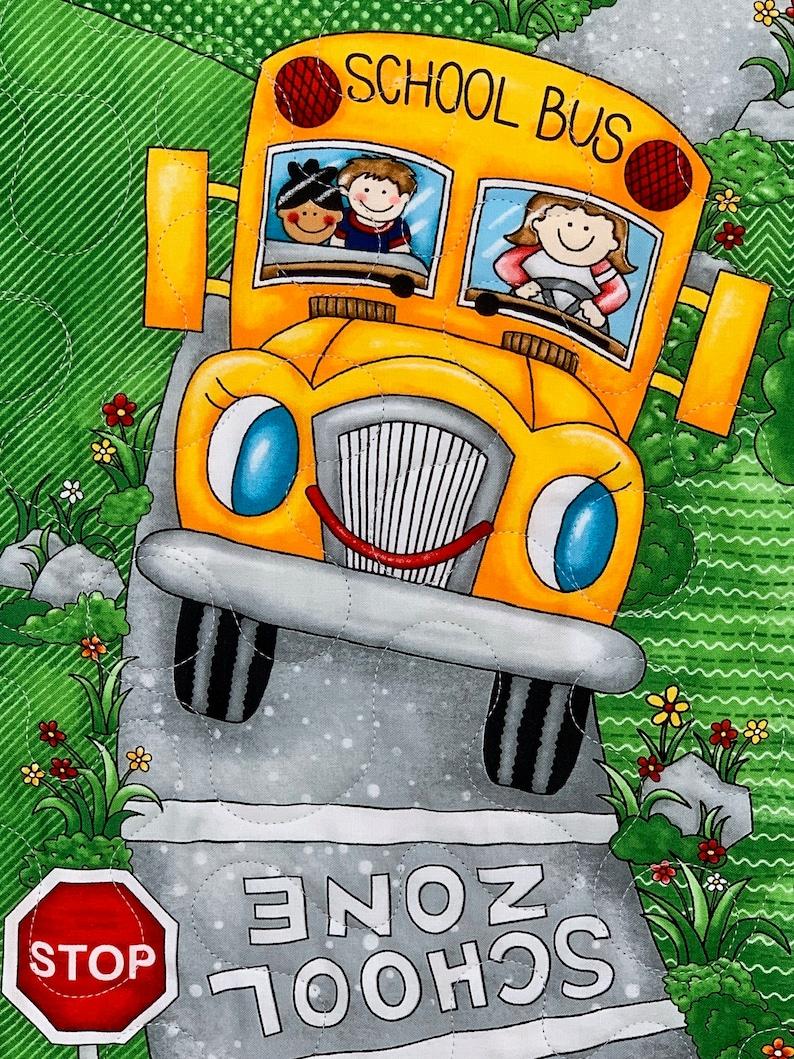 Handmade kid gift. Children Quilt boy or girl I-spy school theme quilt happy kids going back to school quilt 100/% cotton