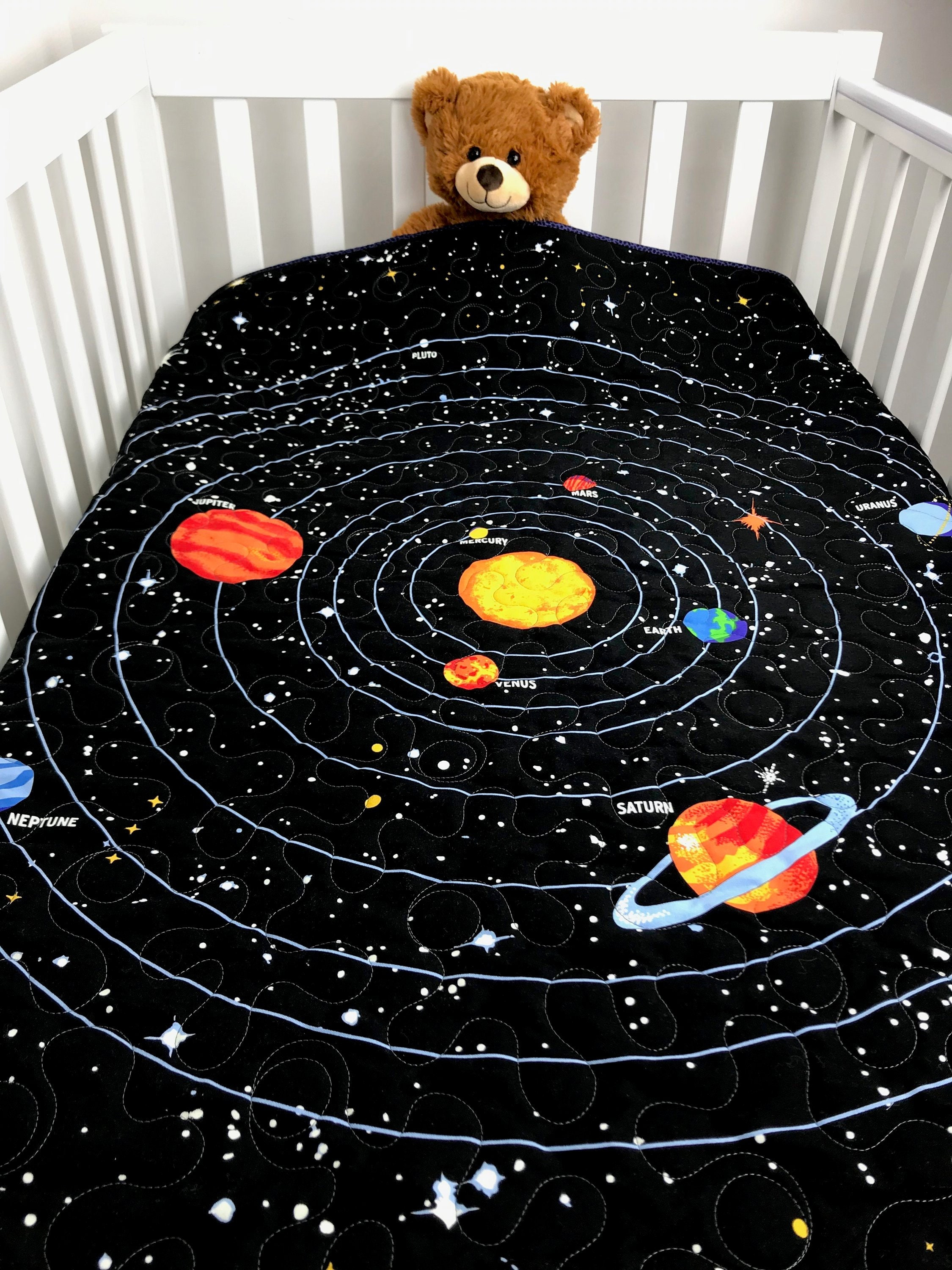 solar system quilt planets and stars that glow in the dark. Black Bedroom Furniture Sets. Home Design Ideas