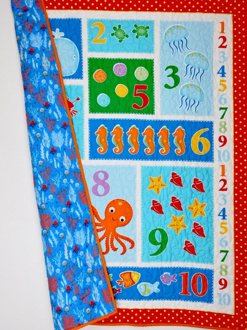 Play and learn neutral gender baby gift gift for baby or toddler. colorful nursery bedding Nautical crib quilt Baby Quilt