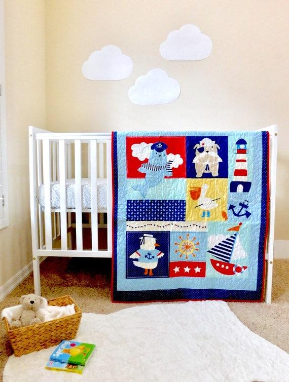 Nautical Baby Quilt Nautique Literie Pour Bebes Pepiniere Nautique