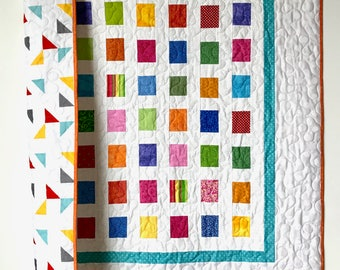 Modern Patchwork Baby Quilt, Colorful and white nursery Quilt bedding, Modern  crib bedding, all colors crib Quilt, Baby boy or girl Quilt.