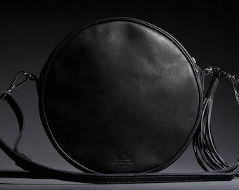 ROUND LEATHER BAG, Crossbody black bag, Crossbody purse, Crossbody leather purse, Crossbody handbags, Small handbag