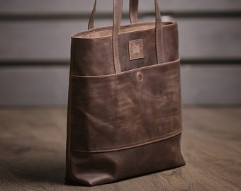 Leather tote bag, Leather tote bag women, Brown tote leather bag, Shopper bag, Shoulder bag
