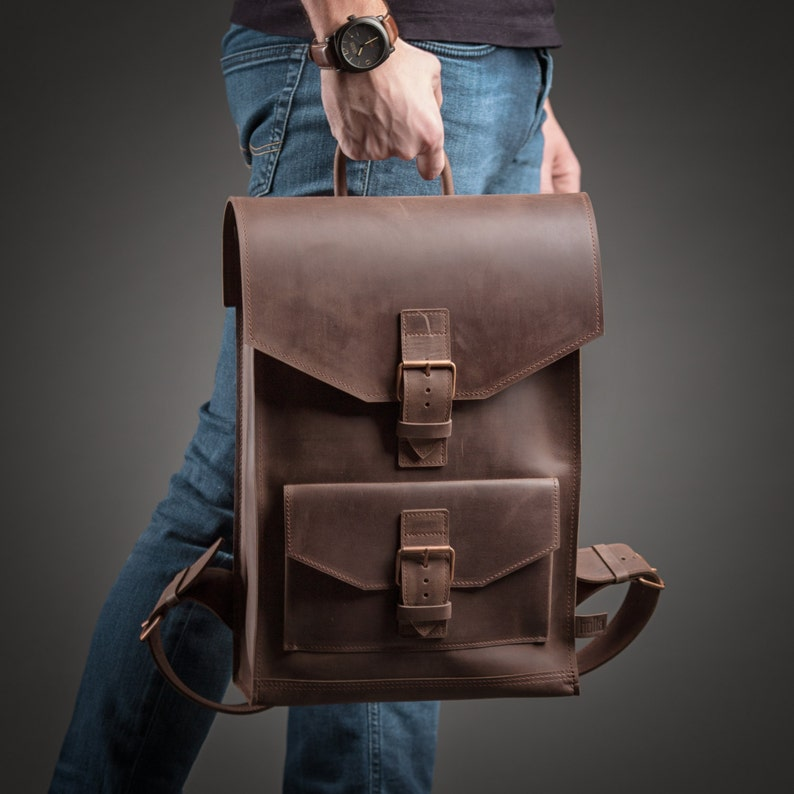 LEATHER BACKPACK BROWN Leather backpack men Leather backpack  1e4640da4e492