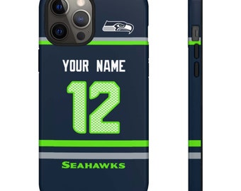 Personalized Gift Seattle Seahawks Tough Snap iPhone Case, iPhone 8, iPhone XR, iPhone 11 case,  iPhone 12 Case Custom  Name and Numbers