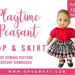 Baby Doll Clothes sewing pattern fits 15 inch doll like Bitty Baby Bitty Twins Playtime Peasant Top and Twirl Skirt PDF pattern Oh Sew Kat!