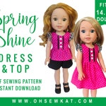 Doll Clothes Sewing Pattern for 14.5 inch doll clothes - Flutter Sleeve Sundress sewing pattern - Spring Shine PDF pattern by OhSewKat