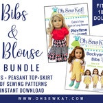 18 inch doll clothes pattern - overalls and peasant top bundle sewing pattern - PDF digital -  variations to make overalls, skirt, top