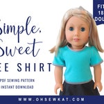Doll Tee Shirt Sewing Pattern for 18 inch Doll Clothes Simple Sweet Tee Shirt Easy to Sew doll clothes by OhSewKat Sewing Pattern for dolls