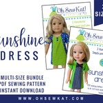 Doll Clothes Sewing Pattern Bundle:  18 inch and 14.5 inch Sunshine Dress digital sewing pattern.  Easy to sew, 3 styles, short sleeve dress