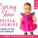Doll Clothes Sewing Pattern for 15 inch baby doll clothes - Flutter Sleeve Sundress sewing pattern - Spring Shine PDF pattern by OhSewKat