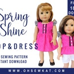 Doll Clothes Sewing Pattern for 18 inch doll clothes - Flutter Sleeve Sundress sewing pattern - Spring Shine PDF pattern by OhSewKat