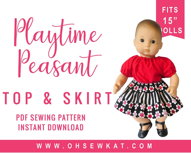 Baby Doll Clothes sewing pattern fits 15 inch doll like Bitty image 0