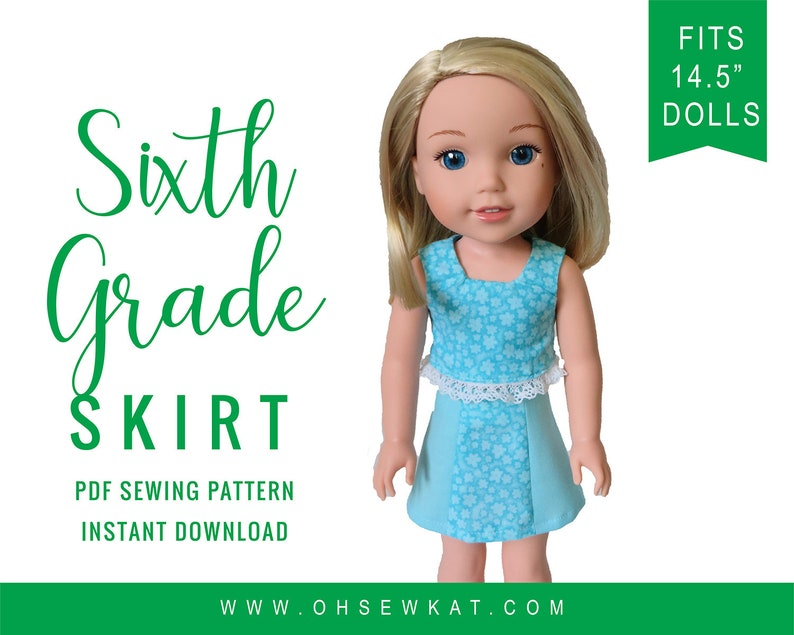 Oh Sew Kat Doll Clothes Skirt Sewing Pattern PDF fits 14.5 image 0