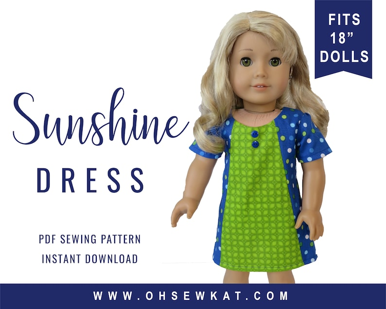 18 inch doll clothes pattern for 3 styles Sunshine Dress image 0