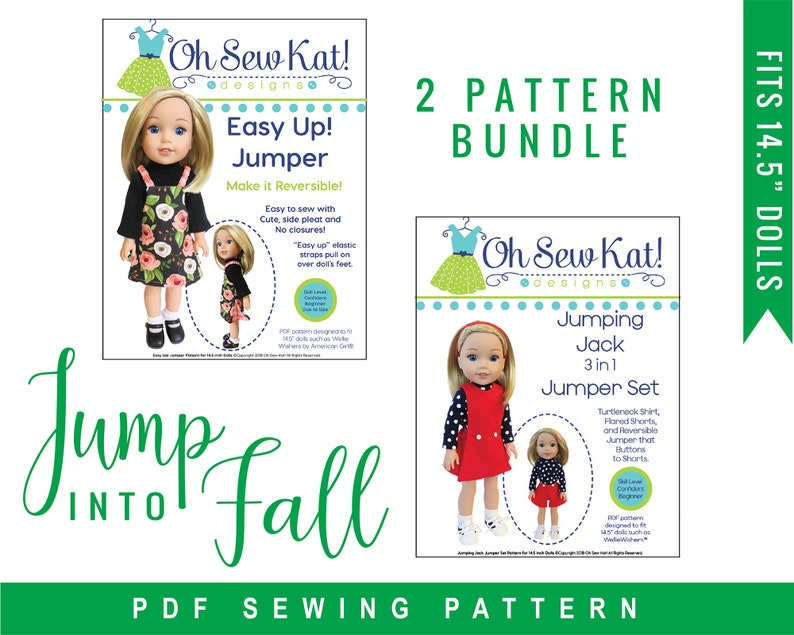 Sewing Pattern PDF Bundle for doll clothes to sew for 14 inch image 0