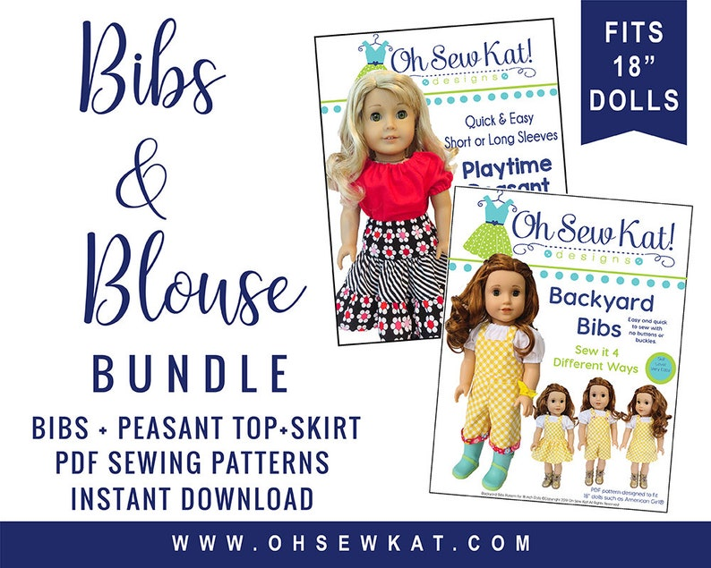 18 inch doll clothes pattern  overalls and peasant top bundle image 0