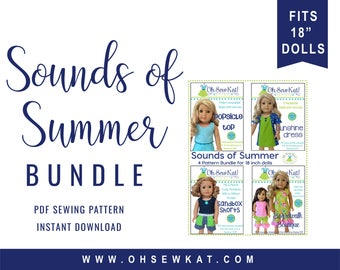 Doll Clothes PDF Bundle Sewing Pattern for 18in like American Girl ® Summer Fun Doll Clothes - 4 patterns ePattern easy to sew by OhSewKat