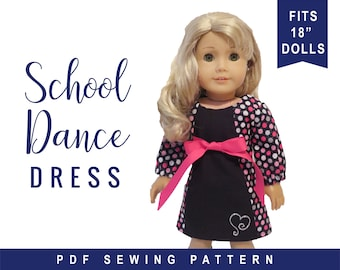 PDF Sewing Pattern for Dolls like 18 inch American Girl ® Doll Clothes - Long Sleeve A-line Dress for dolls - School Dance Dress ePattern