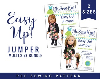 Doll Jumper Sewing Pattern Multi Size for 18 inch & 14.5 inch Doll Clothes, Easy to Sew, OhSewKat, Sewing Pattern, Easy beginner sewing