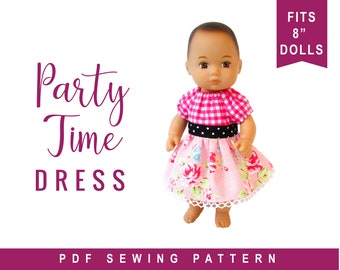 """Caring for Baby Doll Clothes Sewing Pattern - fits 8"""" baby doll clothes - Party Dress Easy Sewing Pattern by OhSewKat, PDF download"""
