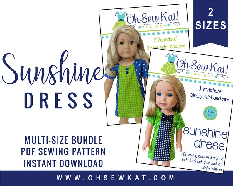 Doll Clothes Sewing Pattern Bundle:  18 inch and 14.5 inch image 0