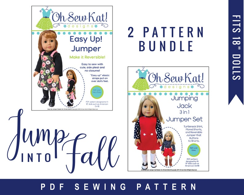 Doll Clothes PDF Sewing Pattern Bundle to sew for 18 inch image 0