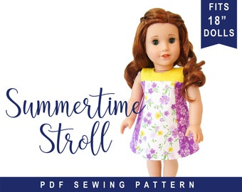 """Doll Clothes Sewing Pattern for 18"""" doll clothes Summertime Stroll Colorblock Dress PDF digital sewing pattern  