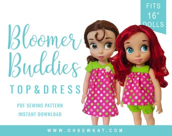 Disney Animators Doll 16 inch Doll Clothes Sewing Pattern Bloomer Buddies Yoke Top or Yoked Dress Easy to Sew doll clothes by OhSewKat