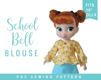 Doll Clothes Sewing Pattern for 16 inch doll clothes for dolls like Disney Animator®  School Bell Blouse Doll Clothes  Doll Top ePattern PDF