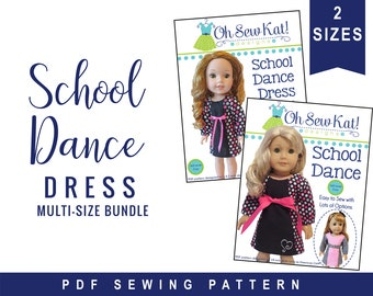 14 and 18 inch doll clothes pattern - Long Sleeve A-line Dress 2 sizes pattern bundle for 18 inch and 14.5 inch dolls - School Dance Dress