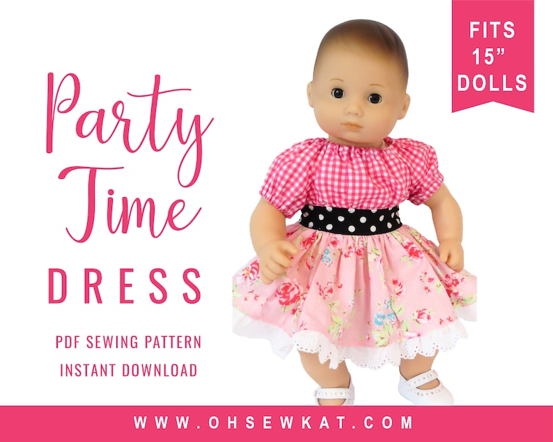 4772aa24f20a Bitty Baby Doll Clothes Sewing Pattern 15 inch Baby Party