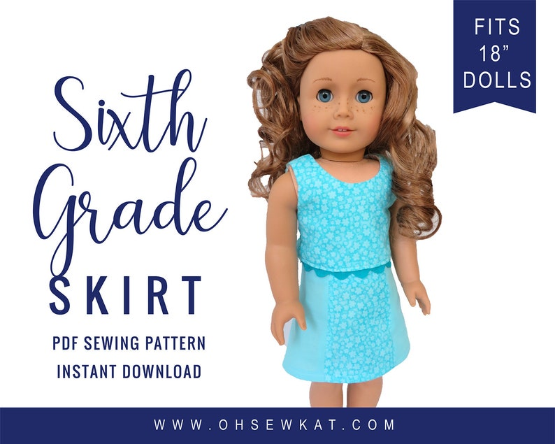18 Doll Clothes Skirt digital Sewing Pattern for 18 inch image 0