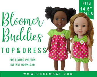 Wellie Wishers 14.5 inch Doll Clothes Sewing Pattern Bloomer Buddies Yoke Top or Yoked Dress Easy to Sew doll clothes by OhSewKat