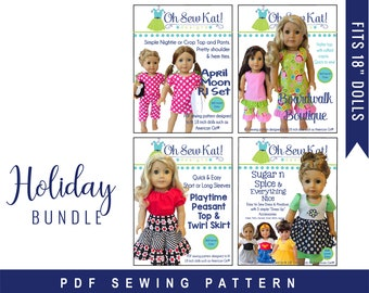 18 inch doll clothes PDF Sewing Pattern Bundle for 18 inch American Girl ® Doll Clothes - 4 patterns ePattern easy to sew doll clothes