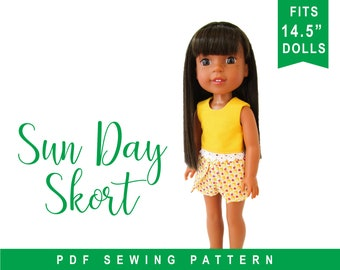 """doll clothes sewing pattern for 14 inch doll clothes - 14"""" Doll Skort PDF Pattern to make Shorts Skirt  PDF digital pattern by oh sew Kat"""