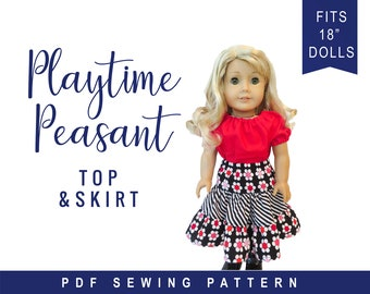 """Doll Clothes pattern fits 18"""" dolls like American Girl -Playtime Peasant Top & Twirl Skirt, PDF pattern"""