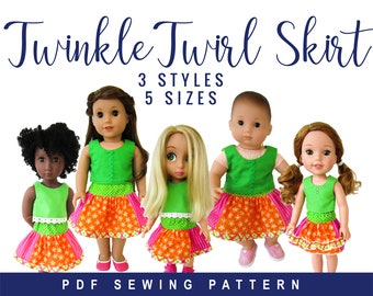 Doll Clothes Boutique Twirl Skirt Sewing PDF Pattern for 14-18 inch doll clothes, Easy patchwork skirt for Dolls, Digital pattern Oh Sew Kat
