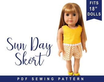 """doll clothes sewing pattern for 18 inch doll clothes - 18"""" Doll Skort PDF Pattern to make Shorts Skirt  PDF digital pattern by oh sew Kat"""