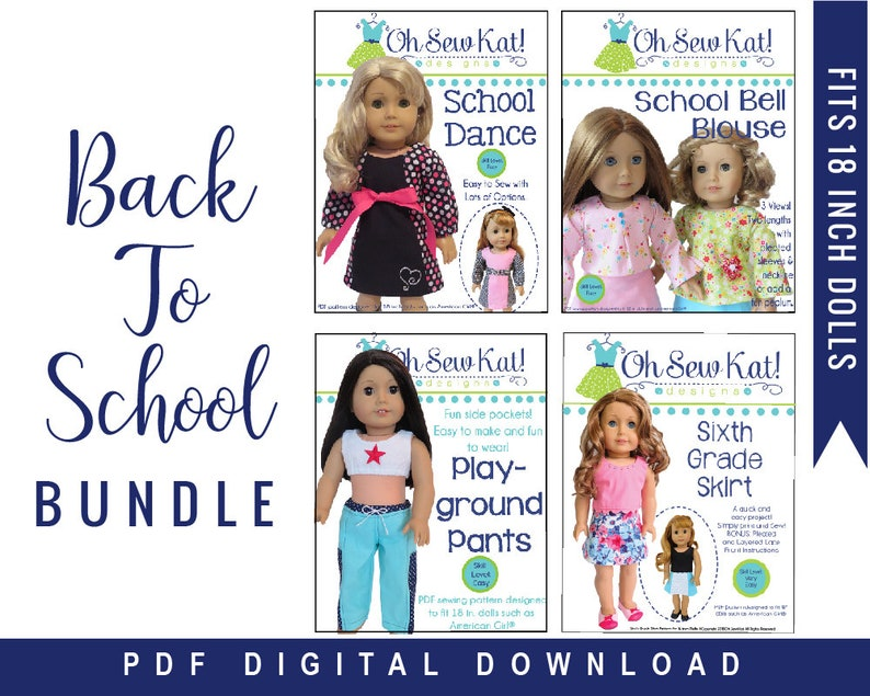 Doll Clothes PDF 4 Sewing Pattern Bundle for 18 inch American image 0